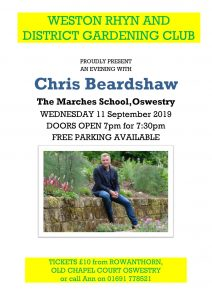 Weston Rhyn & District Gardening Club Presents an evening with Chris Beardshaw